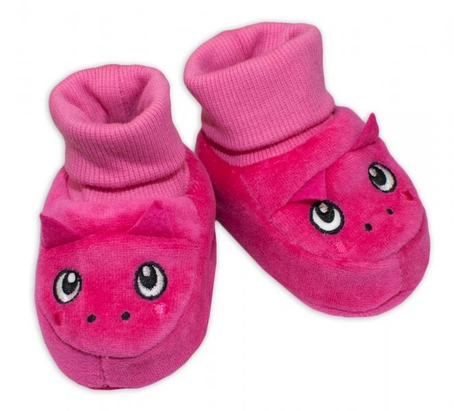Topánočky / capáčky YO! Dráčik - tm. ružové-0/6 měsíců
