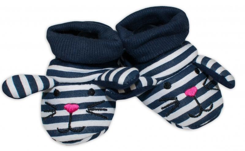 YO ! Topánočky / capáčky YO! Myška - tm. modré prúžky-0/6 měsíců
