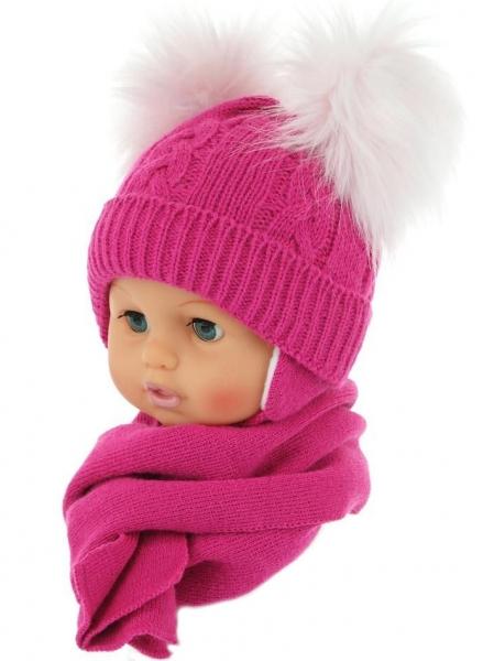 BABY NELLYS Zimná čiapočka s šálom - chlupáčkové bambuľky - malinová-0/4měsíců