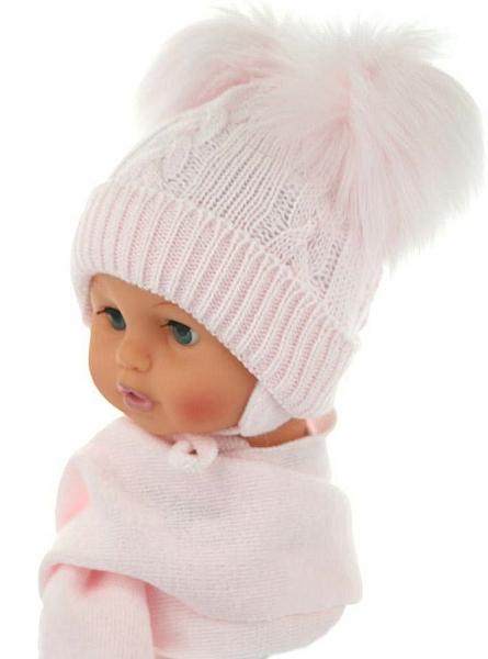 BABY NELLYS Zimná čiapočka s šálom - chlupáčkové bambuľky - sv. ružová-0/4měsíců