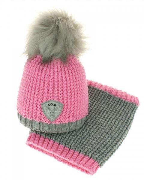 BABY NELLYS Jesenná/zimná čiapka s komínom - chlupáčková Bambulka - ružová/sivá