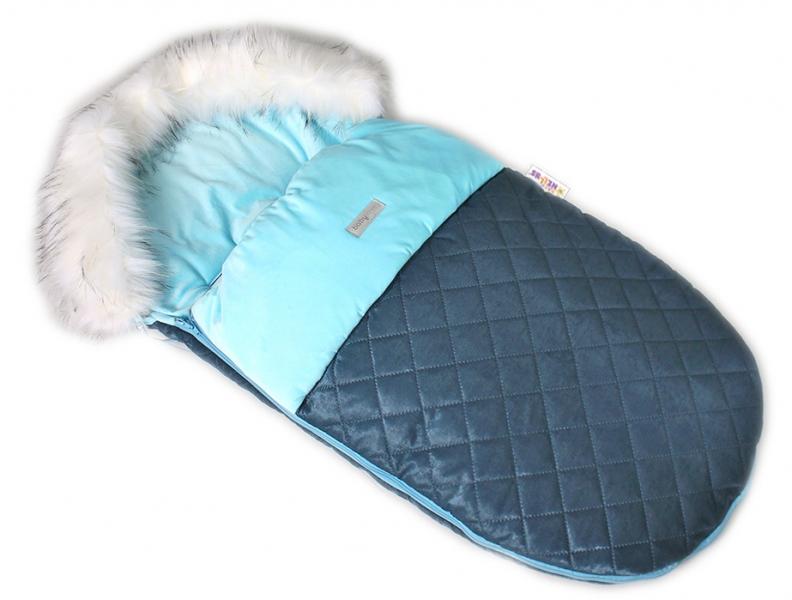 Fusak, spacáček 105x55 Velvet exkluzív prešívaný - modrý