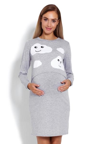 Be MaaMaa Tehotenská, dojčiace nočná košeľa Mráčky - sivá, veľ. L/XL-L/XL