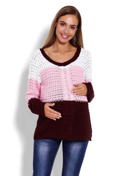 Tehotenský prúžkovaný pulóver - ružová / bordo, vzor: vrkôčik