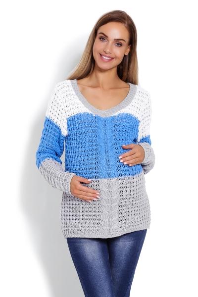 Tehotenský prúžkovaný pulóver - modro/šedý, vzor: vrkôčik