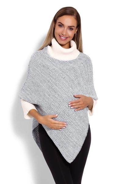 Tehotenské pončo s dlhým rukávom - rolák, krémový melírek