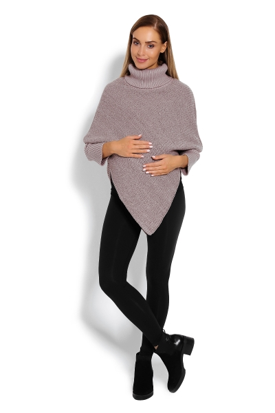 Tehotenské pončo s dlhým rukávom - rolák, cappuccino