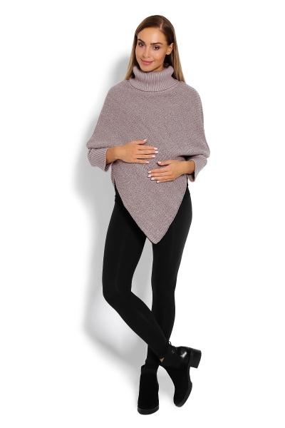 Tehotenské pončo s dlhým rukávom - rolák, béžový melírek