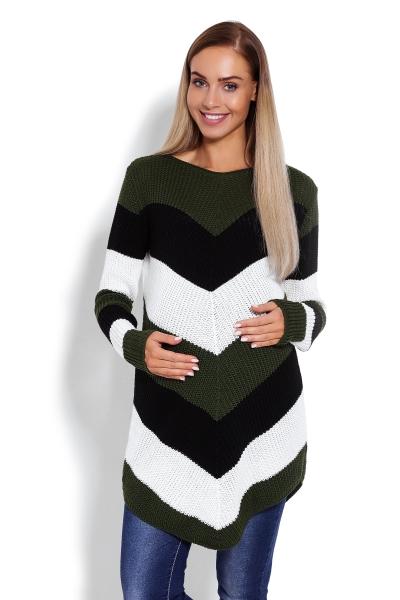 Predĺžený tehotenský pulóver, šikmé pruhy - khaki