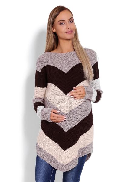 Be MaaMaa Predĺžený tehotenský svetrík, šikmé pruhy - cappuccino-UNI