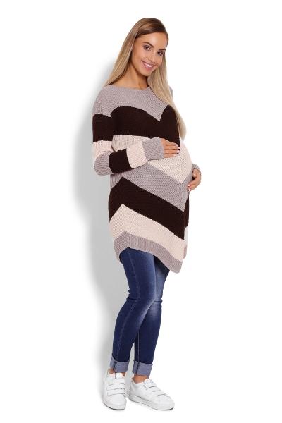 Predĺžený tehotenský pulóver, šikmé pruhy - cappuccino