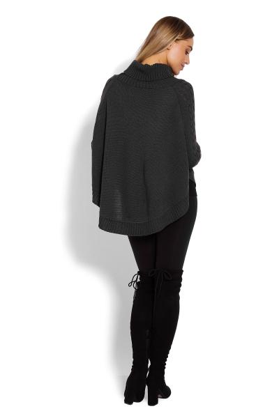 Tehotenské pončo s dlhým rukávom - oválny strih, grafit