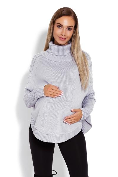Tehotenské pončo s dlhým rukávom - oválny strih, šedé
