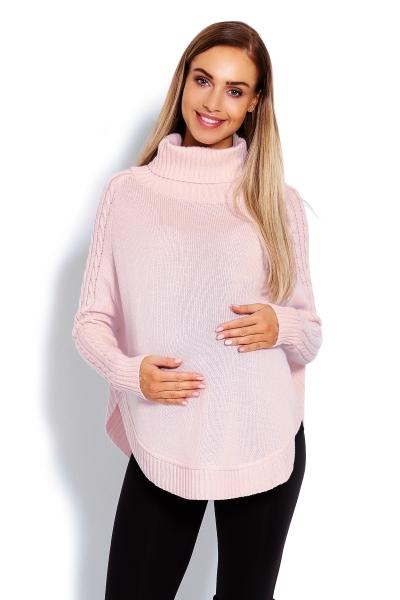 Tehotenské pončo s dlhým rukávom - oválny strih, ružové