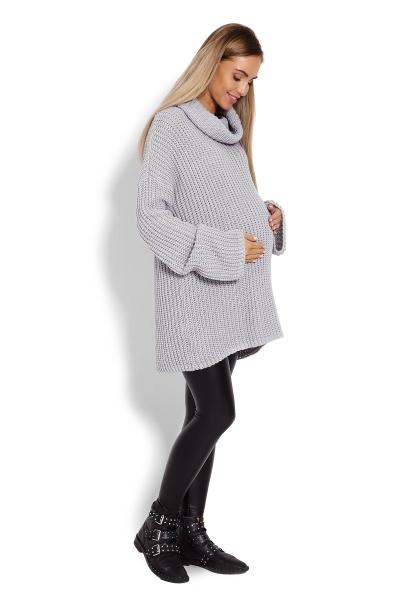 Teplučký, tehotenský pulóver, rolák - šedý