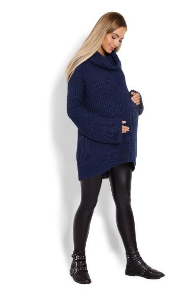 Teplučký, tehotenský pulóver, rolák - tm. modrá