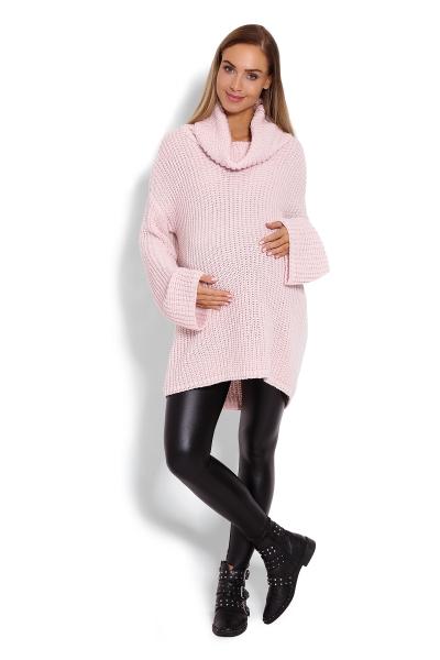 Be MaaMaa Teplučký, tehotenský svetrík, rolák - růžový