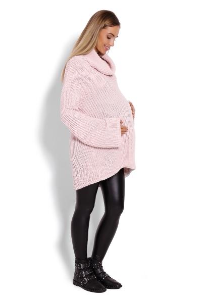 Teplučký, tehotenský pulóver, rolák - ružový