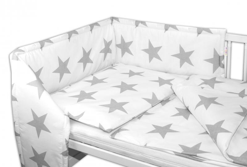 Mantinel s obliečkami - Big Stars biele, 135 x 100-120x90