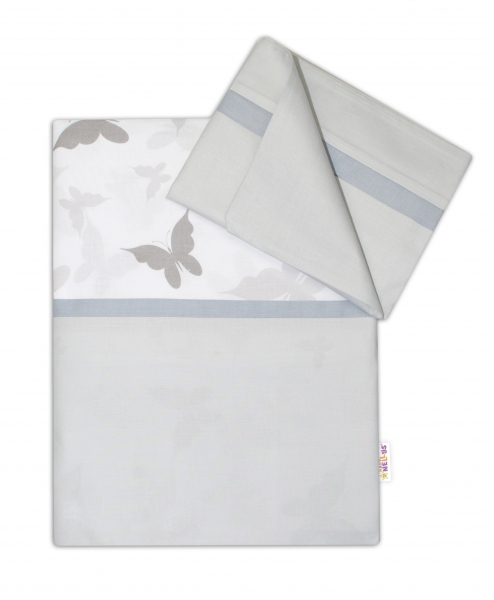 Baby Nellys 2-dielne bavlnené obliečky Motýliky - šedé/šedá, 120x90 cm