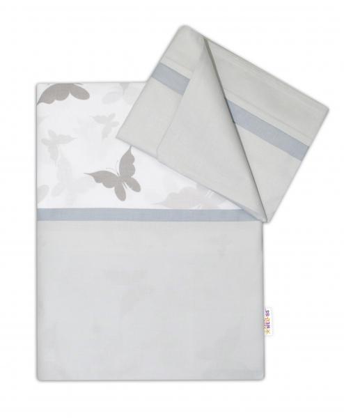 Baby Nellys 2-dielne bavlnené obliečky Motýliky - šedé/šedá, 135x100