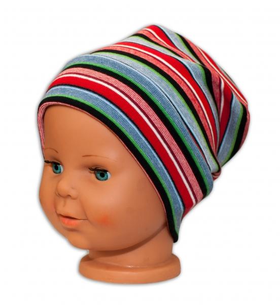 Bavlnená čiapočka Baby Nellys ® - Veselé pruhy červené-42/54 čepička obvod