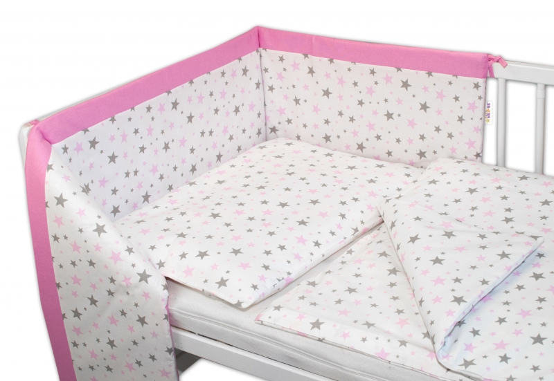 Mantinel s obliečkami Baby Nellys ® Hviezdičky mini - ružové
