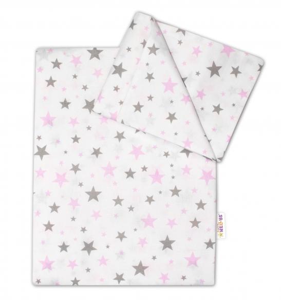 Bavlnené obliečky Baby Nellys ® Hviezdičky mini 135x100 cm - ružové