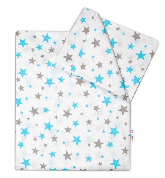 Bavlnené obliečky Baby Nellys ® Hviezdičky mini - tyrkysové-120x90