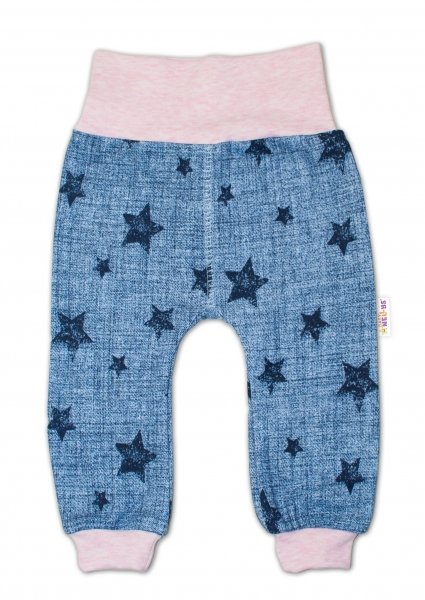 Tepláčky Baby Nellys ® Hviezdičky jeans veľ. 74 - ružové-74 (6-9m)