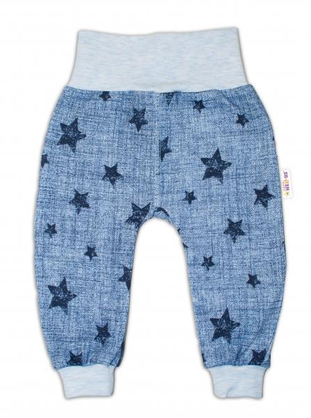 Tepláčky Baby Nellys ® Hviezdičky jeans veľ. 74 - modré-74 (6-9m)