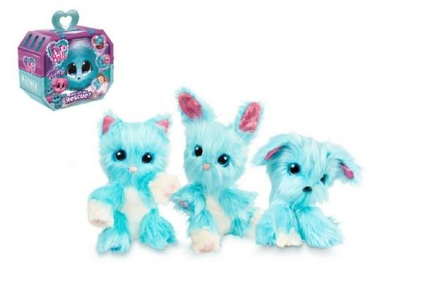 Zvieratko FUR BALLS Touláček psík / mačka / králik modrý plyš plast 10cm s doplnkami