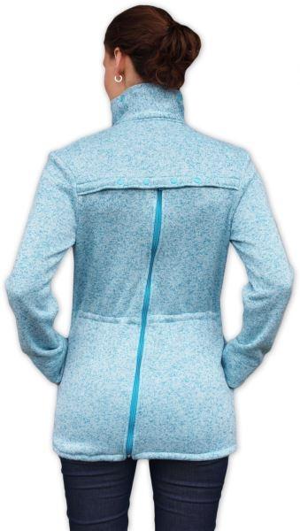 Nosiaci fleecová mikina - pre nosenie dieťaťa vpredu aj vzadu - tyrkys. melírek,vel. M/L