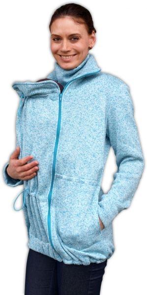 Nosiaci fleecová mikina - pre nosenie dieťaťa vpredu aj vzadu - tyrkys. melírek,vel. L/XL