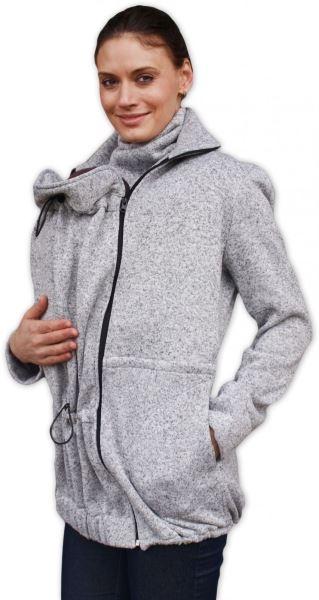 Nosiaci fleecová mikina - pre nosenie dieťaťa vpredu aj vzadu - šedý melír, veľ. M/L