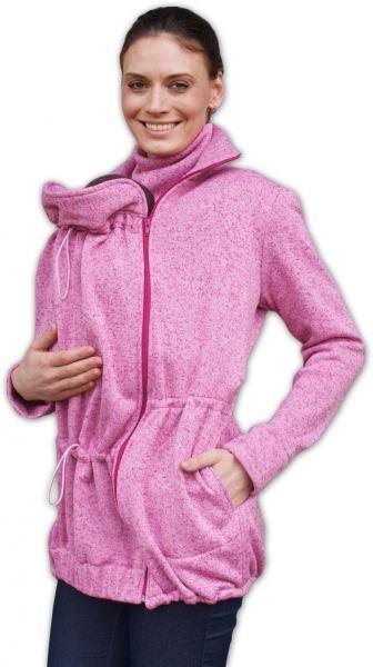 Nosiaci fleecová mikina - pre nosenie dieťaťa vpredu aj vzadu - růžový melír,veľ.M/L