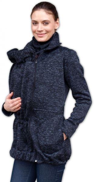 Nosiaci fleecová mikina - pre nosenie dieťaťa vpredu aj vzadu - černý melír, veľ. M/L