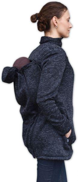Nosiaci fleecová mikina - pre nosenie dieťaťa vpredu aj vzadu - černý melír, veľ. L/XL