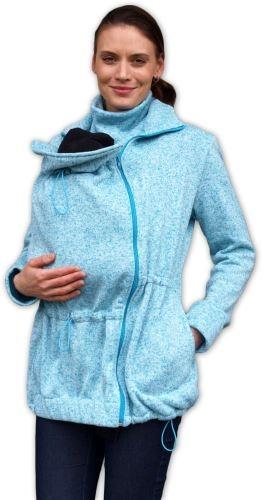 Nosiaci fleecová mikina - pre nosenie dieťaťa vo predu - tyrkysový melír, veľ. L/XL