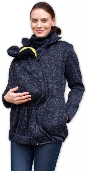 JOŽÁNEK Nosiaci fleecová mikina - pre nosenie dieťaťa vo predu - černý melír
