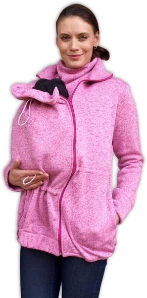 JOŽÁNEK Nosiaci fleecová mikina - pre nosenie dieťaťa vo predu - růžový melír, veľ. L/XL