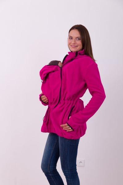 JOŽÁNEK Nosiaci fleece mikina s kapucňou - iba predné nosenie - tm. růžová