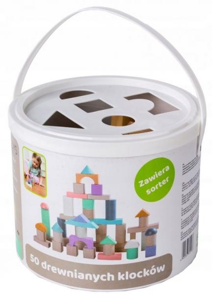 Drevené kocky vo vedierku ECO TOYS 50 ks - pastelové farby