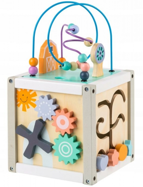 Eco toys Edukačná drevená kocka s labyrintom