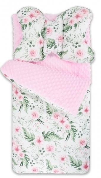 Baby Nellys Fusak, spacáček Minky s vankúšikom Flowers - růžový/sv. růžový