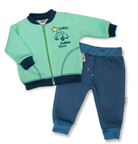 K-Baby Tepláková súprava Autíčko - mätová/jeans