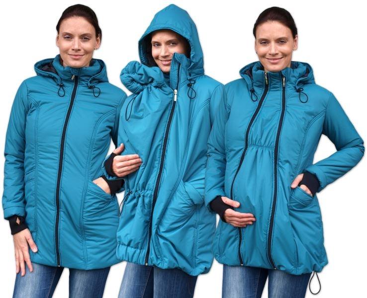 JOŽÁNEK Zimná bunda pre tehotné / nosiacie - vyteplená, petrolejová, veľ. L/XL