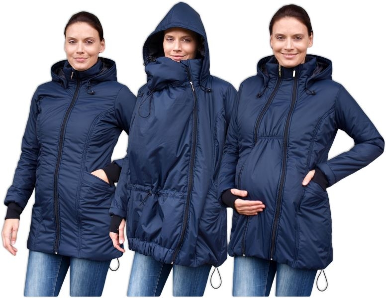JOŽÁNEK Zimná bunda pre tehotné / nosiacie - vyteplená, tm. modrá
