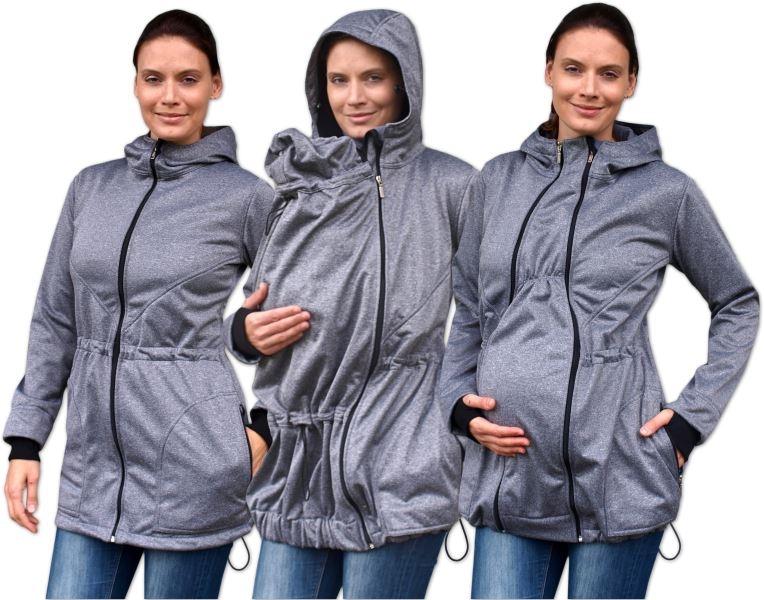 JOŽÁNEK Bunda pre nosiace, tehotné - softshellová (predné nosenie) - šedý melír, veľ. L/XL