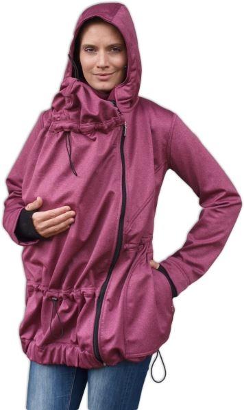Bunda pre nosiace, tehotné - softshellová (predné nosenie) - vínový melír, veľ. L/XL